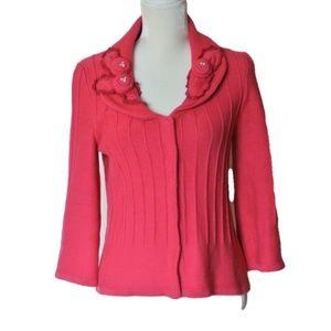 CAbi Pink Rosette Gem Cardigan Sweater M 481